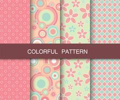Conjunto padrão colorido. Padrões de fundo para tecido e papel