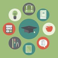 Cap de la remise des diplômes avec des icônes de l'éducation