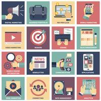 Icônes de marketing numérique, publicité vidéo, campagne dans les médias sociaux, promotion de la newsletter, service de paiement au clic, optimisation du référencement de site Web