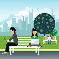 Mensen zitten in een park, houden lap top op schoot. Sociaal netwerk concept. Platte vectorillustratie