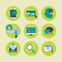 Web icons for business, computing, mobile application and chat. Flat vector illustration