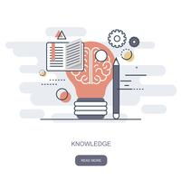 Knowledge and wisdom icon. On line learning, education, web tutorials. Flat vector illustration