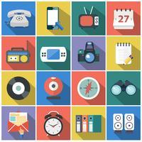 Ícones modernos planos vector coleção com muito efeito de sombra nas cores elegantes de objetos de design web, negócios, artigos de escritório e marketing