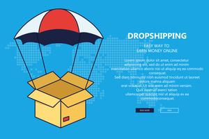 Drop shipping concept. Parachute in the sky delivering package to destination