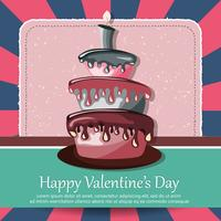 Valentine's Day card and Birthday card with cake. Flat vector illustration