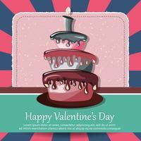Valentijnsdag kaart en verjaardagskaart met taart. Platte vectorillustratie