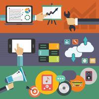 Insieme di concetti di illustrazione vettoriale piatto per layout del sito Web, servizi di telefonia mobile e applicazioni e servizi e applicazioni tablet computer