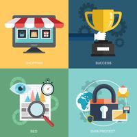 Insieme vettoriale di concetti di business, marketing e finanza piatta e colorata
