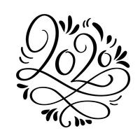 Dibujado a mano vector Letras caligrafía negro número texto 2020. Tarjeta de felicitación de feliz año nuevo. Diseño de ilustración de Navidad vintage