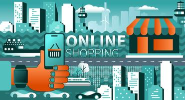 Online shopping on mobile or laptop concept vector illustration