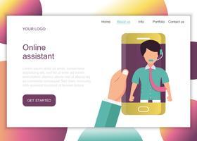Asistente on line. Concepto de servicio de atención al cliente de negocios. Conjunto de iconos de contacto, soporte, ayuda, llamada telefónica y clic en el sitio web. Vector plano