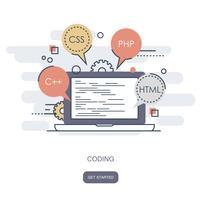 Concepto de programación y codificación. Icono de desarrollo de aplicaciones para sitios web.