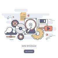 Concept de stockage Web. Concept informatique en nuage. Bureau de travail avec technologie informatique, téléphones portables et tablettes. Illustration vectorielle plane