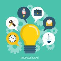 Ideas de negocio, conceptos de lluvia de ideas. Bombilla con iconos. Ilustración vectorial plana