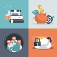 Icônes de plats modernes vector collection dans des couleurs élégantes des objets de conception web. Icônes pour les affaires, les finances, le GPS, l'éducation et la sécurité des nuages.