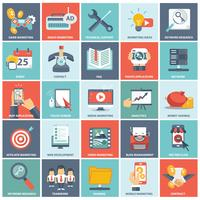 Modern flat icons vector collection in stylish colors of web design objects, business, office and marketing items.