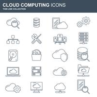 Set di icone di cloud computing e tecnologia