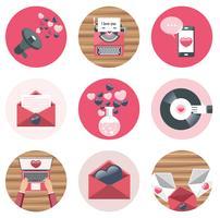 Valentijnsdag pictogramserie. Hou van concept