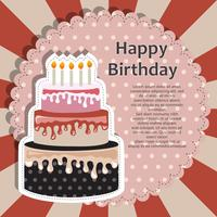 Birthday card with cake. Flat vector illustration