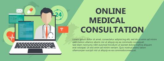 Consulta médica on line. Servicio de ayuda de emergencia. Medico de guardia. Ilustración vectorial plana