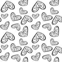 Seamless vector pattern with calligraphic hearts. Ornament for Valentine's day. Hand drawn illustration. Isolated brush strokes
