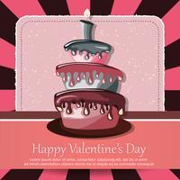 Valentijnsdag kaart en verjaardagskaart met taart
