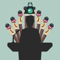 Microphones in reporter hands. Set of microphones and camera isolated on green background. Mass media, television, interview, breaking news, press conference concept