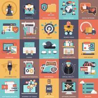 Affärssamling, teknik, förvaltning och ekonomi ikonuppsättning