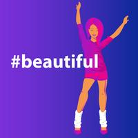 Hashtag beautiful concept gradient vector illustration of sensual redhead woman