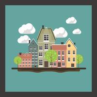 Mysigt stadsdel koncept