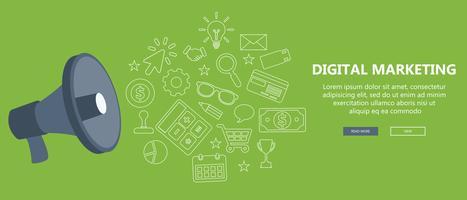 Conceito de marketing digital. Ilustração vetorial plana