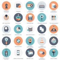Vectorinzameling van kleurrijke vlakke zoekmachineoptimalisering, zaken, technologie en financiënpictogrammen. Ontwerpelementen voor mobiele en webapplicaties