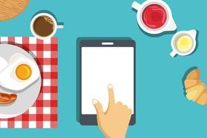 Frühstück einrichten Mock-up-Vorlage. Frühstück mit Spiegeleiern und Speck mit Kaffee und Butterbrötchen