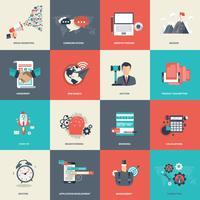 Bedrijfs en beheerspictogram dat voor websiteontwikkeling en de mobiele telefoondiensten en apps wordt geplaatst
