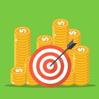 Dart target with arrow, Dollar cash and golden coins