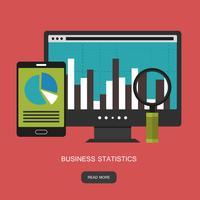 Estadísticas y declaración de negocios. Concepto de administración financiera. Consultoría para el desempeño de la empresa, concepto de análisis. Ilustración vectorial plana