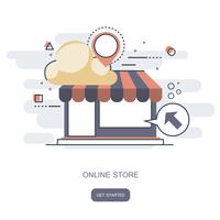 On-line butikskoncept. Ikonaffär online, affärsikon platt design. Appikoner, webbidéer Nätverkssida, Virtuellt inköp, Vector