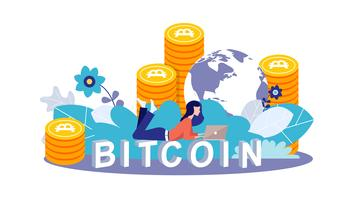 Bitcoin concept vector illustration of young girl using lap top for online funding and making investments for bitcoin