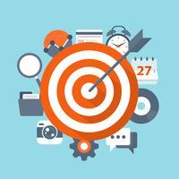 Zielsetzung Vektor-Konzept. Flache Illustration des Zielens und des Managements mit Ikonen.