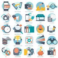 Conjunto de iconos de negocios, tecnología y finanzas para sitios web y aplicaciones y servicios móviles