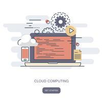 Concept informatique en nuage. Bureau de travail avec technologie informatique, téléphones portables et tablettes. Illustration vectorielle plane
