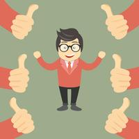Business compliment concept. Happy and proud businessman with many thumbs up hands around him vector