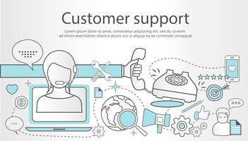 Bandeira de conceito de serviço de suporte. Ilustração de contorno design plano com ícones