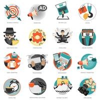 Business and management icon set for website development and mobile phone services and apps vector