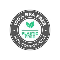 100 procent BPA fri. Plastfri. 100 procent kompostabel ikon.