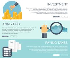 Business and finances concepts. Investment, business analytics, paying taxes banners
