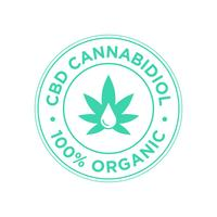 CBD Cannabidiol pictogram. 100 procent organisch.
