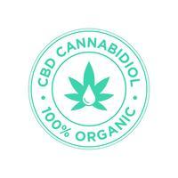 Ícone de canabidiol de CBD. 100 por cento orgânico.