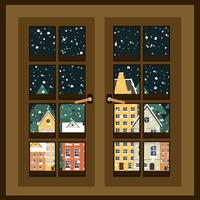 Winter landscape. View from the window. New Year poster. Winter in village