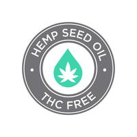 Hemp seed Oil icon. THC Free. vector